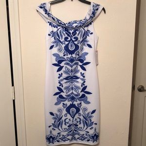 Blue and White off the shoulder dress